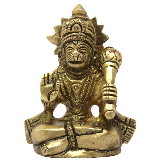 Hindu Deity Hanuman Idol Brass Statue for Puja Mandir Car Desktop 2.5x2x1 inches; 205 Grams