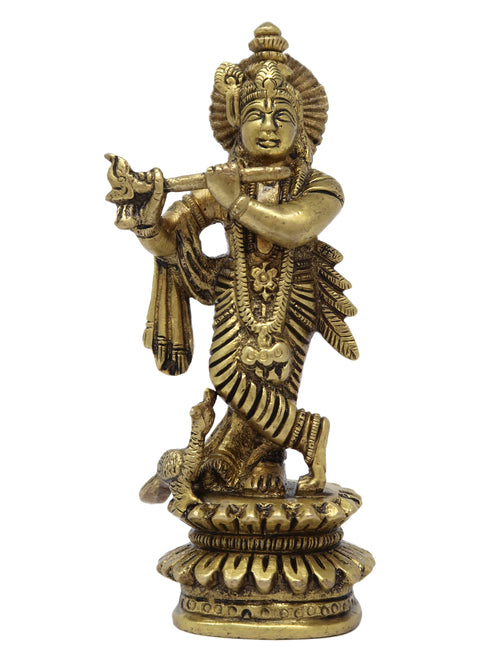 Krishna Idol Brass Statue for Puja Home Decor and Gifts on Hindu Festivals Size: 5x5x1.25 Inch
