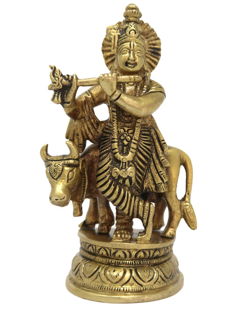 Brass Statue of Krishna with Cow Playing Murli Hindu Idol for Puja Size: 5x4.5x1.5 Inch