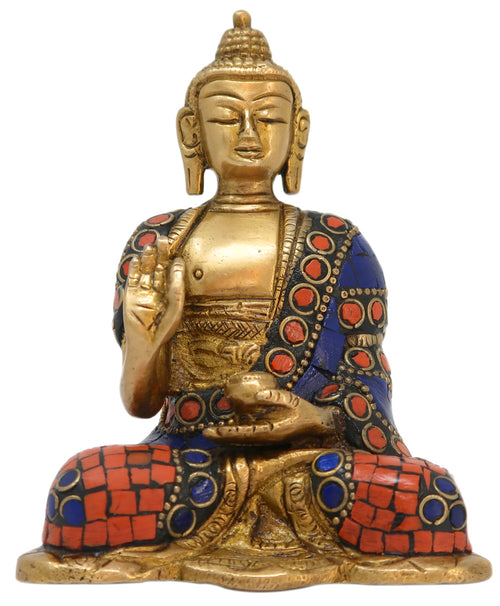 Medicine Buddha Idol Brass Statue for Healing and Meditation Size: 5x3x1.75 Inch