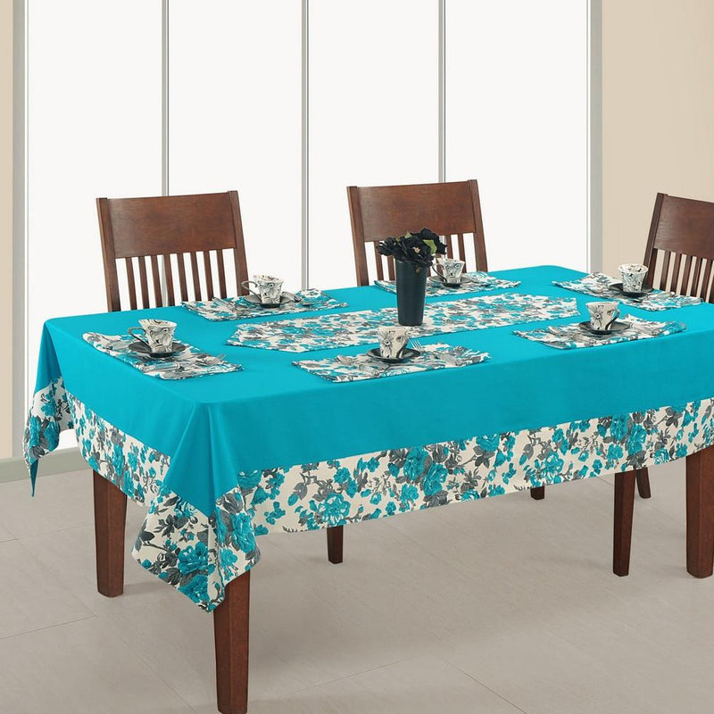 Square Table Cover 54x54 Inch,Printed And Solid,RDSS-2711SP,Aqua,100% Duck Cotton,