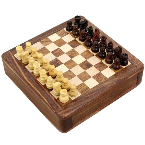 ShalinIndia Magnetic Chess Set Wooden Toys and Games - Travel Game - 5 inches by 5 inches - Perfect Gift for Kids and Adults