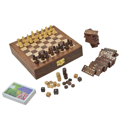 ShalinIndia Four-in-One Wooden Board Game - Chess, Backgammon, Dominos, Playing Cards - 8 Inches by 8 Inches - Great Gift for Adults