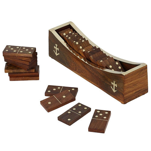 Wooden Domino Game, Open Boat Tray and Pieces, Handmade Christmas Gift; Board Game for Adults