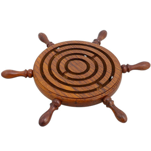 Wooden Nautical Wheel Design Labyrinth Game Ball In Maze Puzzle Handcrafted in India