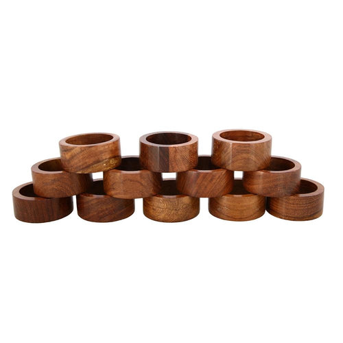 Shalinindia Handmade Wood Napkin Ring Set With 12 Napkin Rings - Artisan Crafted in India
