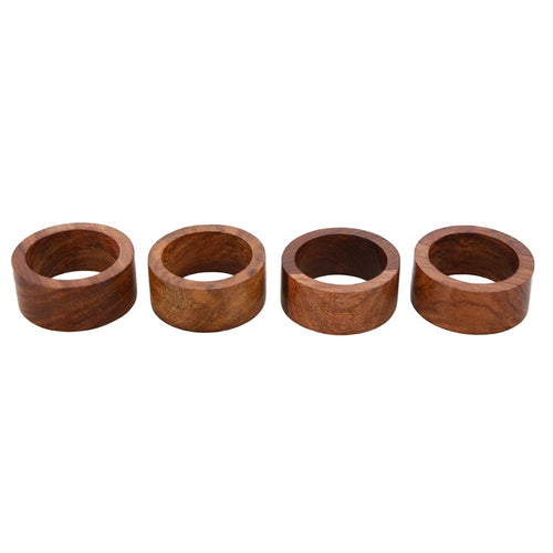 Shalinindia Handmade Wood Napkin Ring Set With 4 Napkin Rings - Artisan Crafted in India