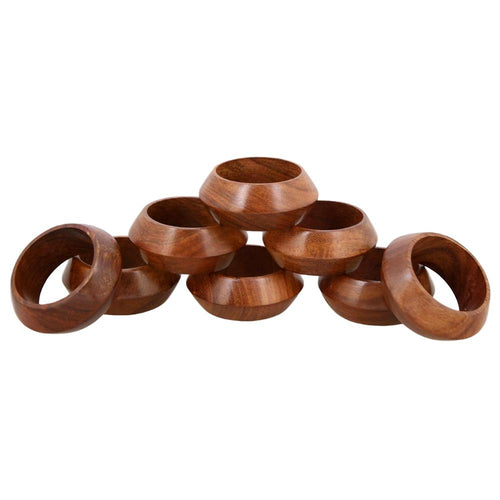 Shalinindia Handmade Wood Napkin Ring Set With 8 Napkin Rings - Artisan Crafted in India