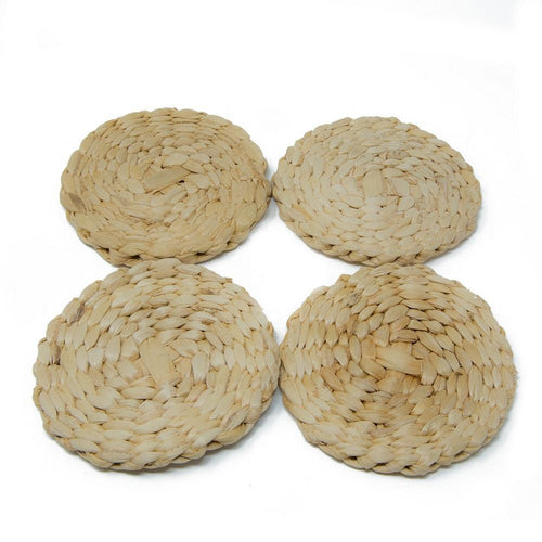 Handmade Eco Friendly Plain Weave Coasters Set Of 4-Drink Coasters-Cocktail Dining Table Coffee-Diameter-4 Inch-Artisan Crafted In India