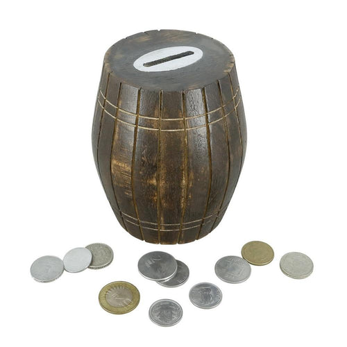 ShalinIndia Handmade Wooden Safe Money Coin Storage Box Barrel Shape Indian Antique Looks 5 Inches