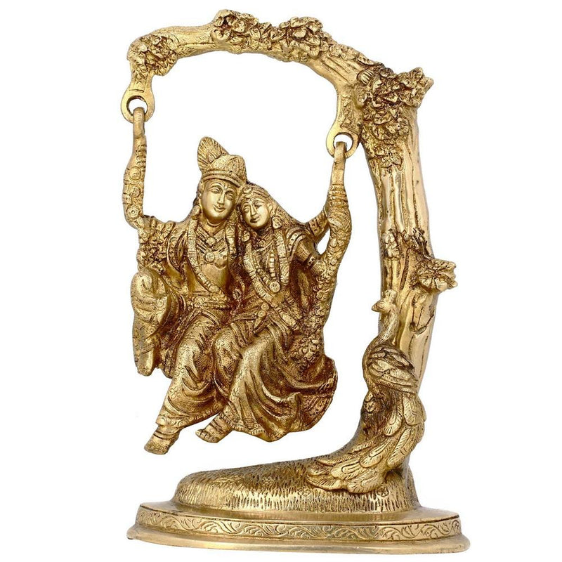 Krishna Radha Statue Religious Art Hindu Decor; Brass; 12 Inches