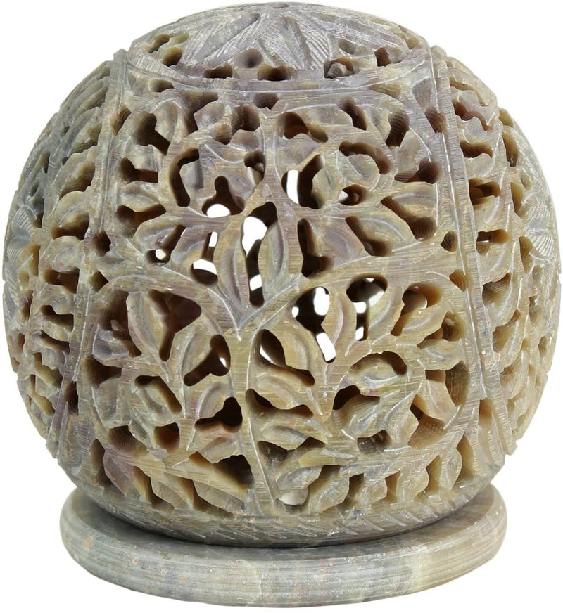 ShalinIndia Hand Carved Globe Shaped Tea Lights Candle Holder Home Decorative Gifts(SB_Candle_Holder_8)
