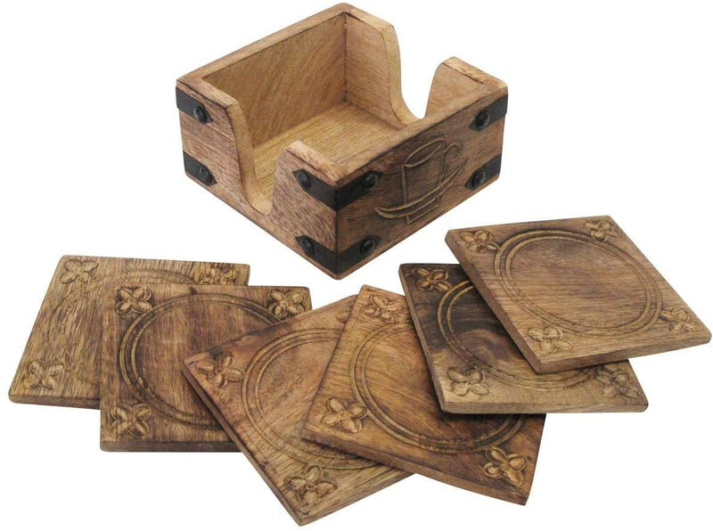 ShalinIndia Set of 6 Hand Carved Wooden Burnt Wood Style Coasters Holder Set Dining Table Décor(SB_Coaster_7)