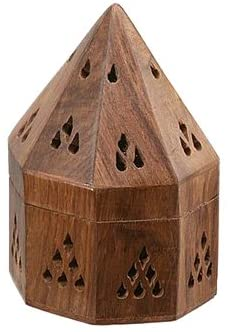 "ShalinIndia Wooden Incense Holders From India 5"" Temple Wooden Charcoal Cone Burner(SB_Incense_Holder_5)"