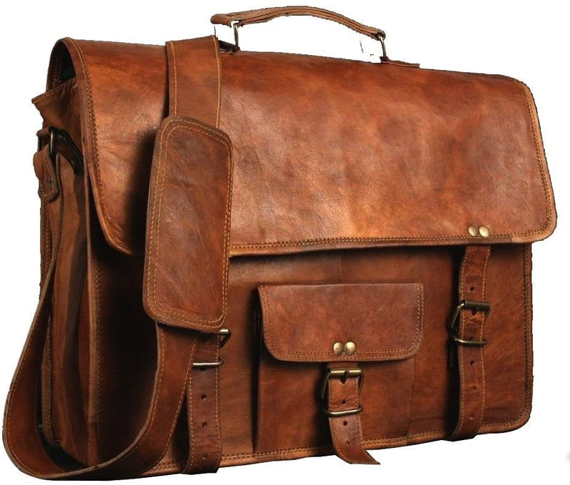ShalinIndia Leather Bags Vintage Soft Leather Messenger Brown Real Laptop Satchel Bag Genuine Briefcase(SB_Leather_Bag_2)
