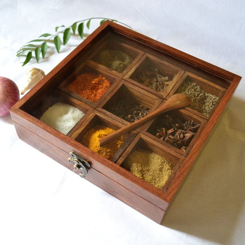 ShalinIndia Wooden Masala Dabba Indian Spice Box with Glass Lid on Top Spoon Sheesham Rosewood(SB_Storage_Box_2)
