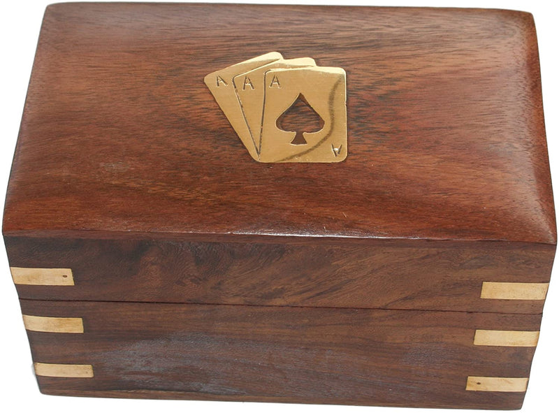 ShalinIndia Twin Pack Playing Cards Wooden Storage Box Perfect for Birthday Gifts Ideas for Adults(SB_Tissue_Holder_5)