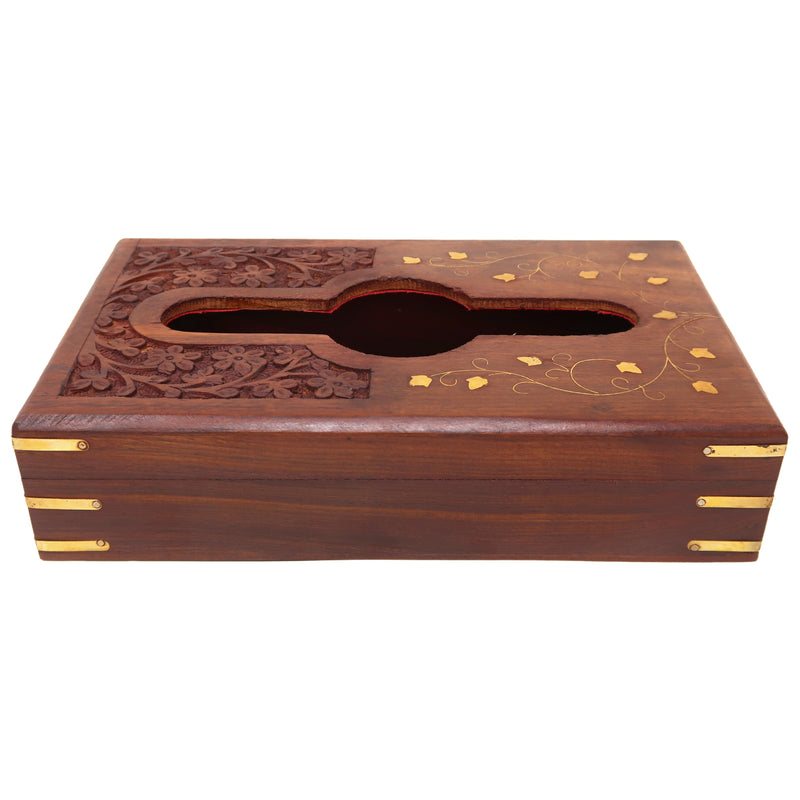 ShalinIndia Tissue Paper Box Wooden Box for Tissues Dispenser with Brass Inlay Dining Table Decoration(SB_Tissue_Holder_7)