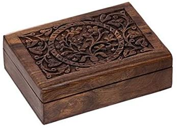 ShalinIndia Indian Return Gifts for Puja and Housewarming Handmade Jewelry Box Wood Size 22X13X7 Cm.(SB_WC_024)