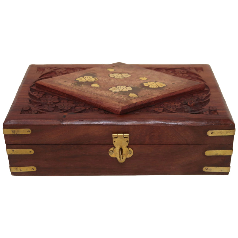 ShalinIndia Handcrafted Wooden Jewelry Keepsake Box with Lid Storage Chest Vintage Look Size 22X14X7 Cm.(SB_WC_060)