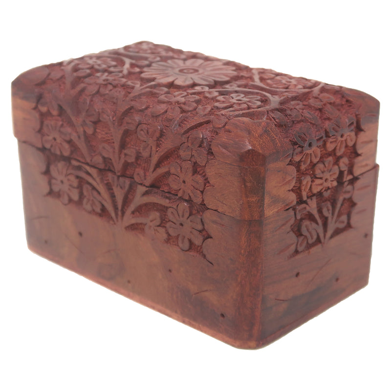 ShalinIndia Classic Style Wooden Jewellery Storage Box Organiser with Floral Hand Carvings Size 13x8x8 Cm(SB_WC_062)