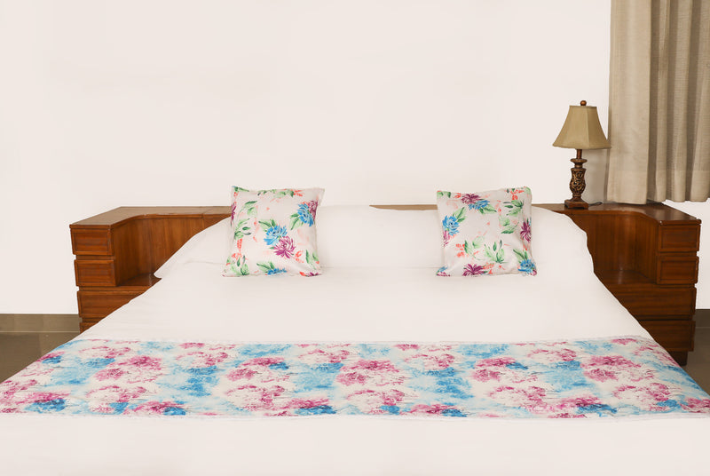 Blue Floral Bed Runner 18x90 Dolby Collection  Cushion Covers 16x16(SI_DL_004)