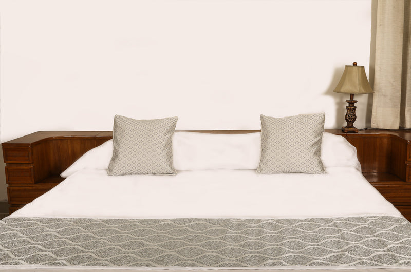 Silver Grey Bed Runner 18x90 Sketch Cushion Covers 16x16(SI_S_001)