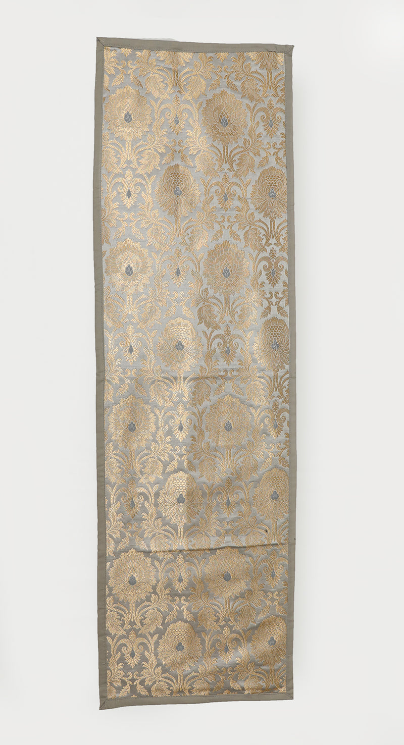 "Shalinindia Brocade Silk Table Runner for Dining Center Table Top Elegant Ethnic Home Furnishing Decorative Indian Heavy Quality Colour Grey Size 13x60"" Festive Gift(SI_K_RNR_13x60_009)"