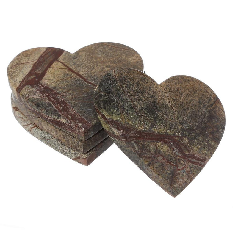 Shalinindia Handmade Love Heart Shape Marble Stone Tea Coasters Set of 4 for drink Size- 4X4X0.75 Inch Cocktail Coffee Dinning Table- Artisan Crafted In India