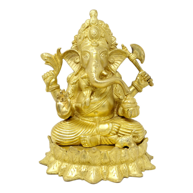 Handmade Indian Brass Sculpture Seated Lord Ganesha for Pooja Mandir Spiritual Decor Gifts,9.75 Inch,4.7 Kg