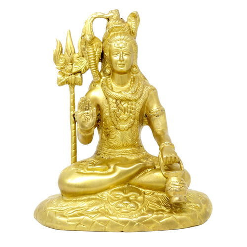 Handmade Indian Art Hinduism Decor Seated Lord Shiva Statue Religious Sculpture 10 inch 4.5 Kg