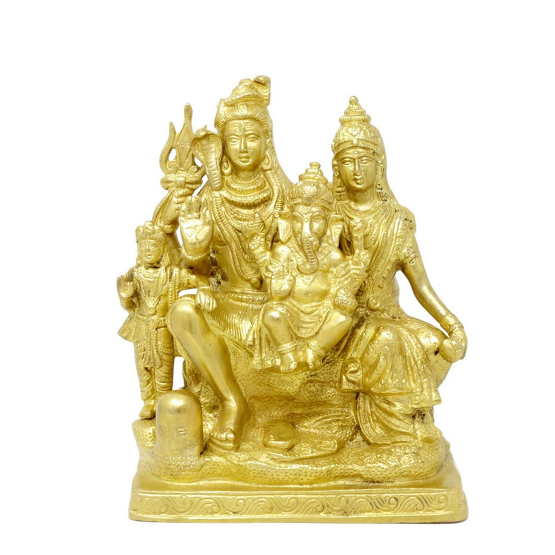 Religious Brass Sculpture Lord Shiva Mata Parvati With Family Lord Ganesha,Lord Kartikeya Hindu Home Décor,Large 8 Inch,3.34 Kg