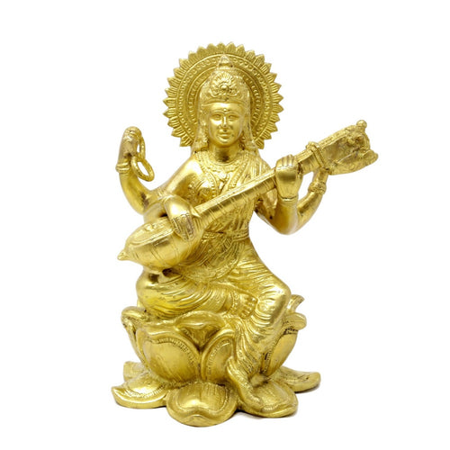 Handmade Goddess Saraswati Religious Sculpture Brass Indian Art Home Decor 10 inch 3.5 Kg