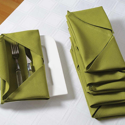 Solid Color Cotton Dinner Napkins - 20 inch x 20 inch - Set of 4 Premium Table Linens for the Dining Room - Green