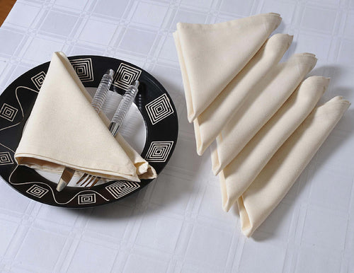 "ShalinIndia Cloth Dinner Napkins - 24"" x 24"" - Cotton - Cream - Set of 4 - Perfect for Weddings & Dinner Parties"