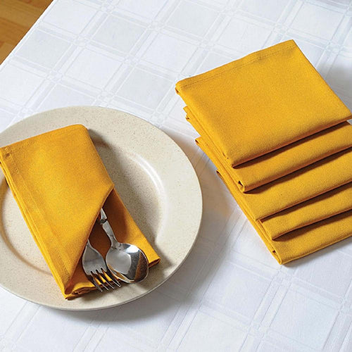 Solid Color Cotton Dinner Napkins - 20 inch x 20 inch - Set of 12 Premium Table Linens for the Dining Room - Yellow