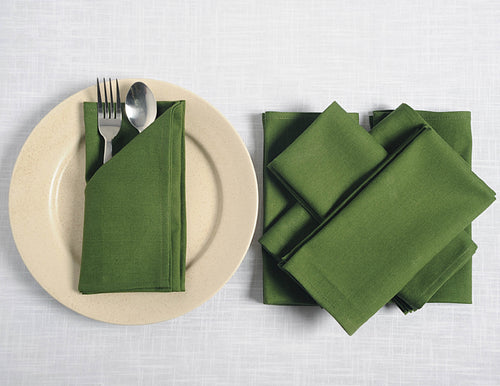"ShalinIndia Cloth Dinner Napkins - 24"" x 24"" - Cotton - Olive - Set of 4 - Perfect for Weddings & Dinner Parties"