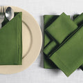 "Solid Color Cotton Dinner Napkins - 20"" x 20"" - Set of 6 Premium Table Linens for the Dining Room - Olive"