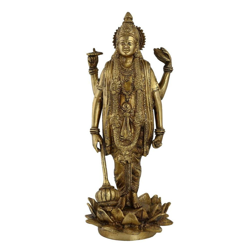 Vishnu Statue Hindu Spiritual Art Home Sculptures; Brass; 12.5 Inches Size: H - 12.25 Inches L - 3 Inches W - 5 Inches Weight: 3.5 KG