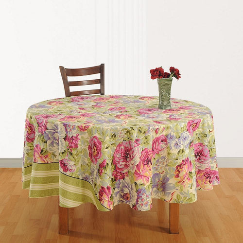 Tablecloth 6 Seater Printed Floral  Indian Home Décoration 86 Inch Round Cotton