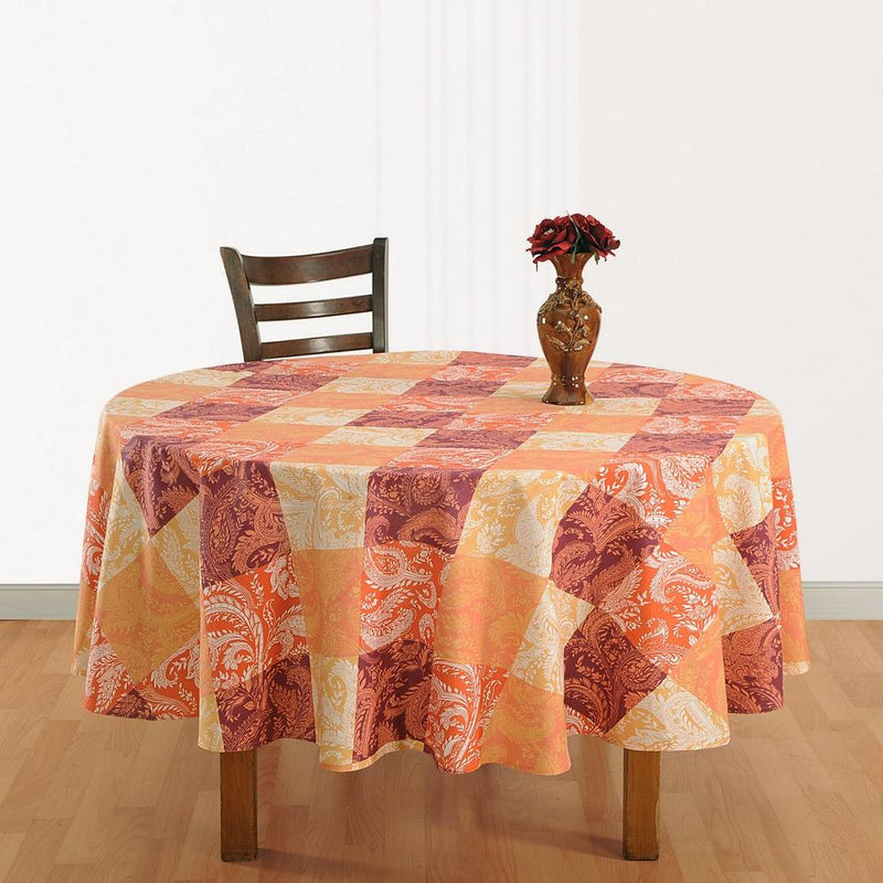 Table Décor 86 Inch Round Tablecloth 6 Seater Cotton  Indian Printed Floral