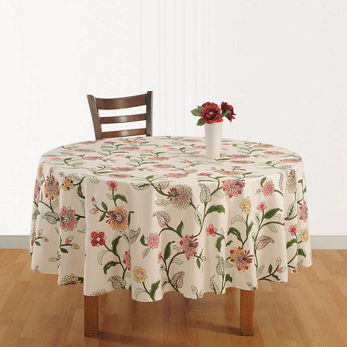 Tablecloth 6 Seater Cotton  Indian Home Décor 86 Inch Round Printed Floral