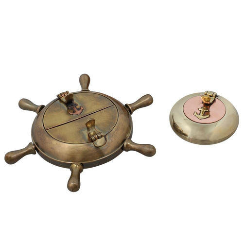 Cigarette Accessories Brass Metal Set Of Two Ashtrays Indoors Home Decor Indian