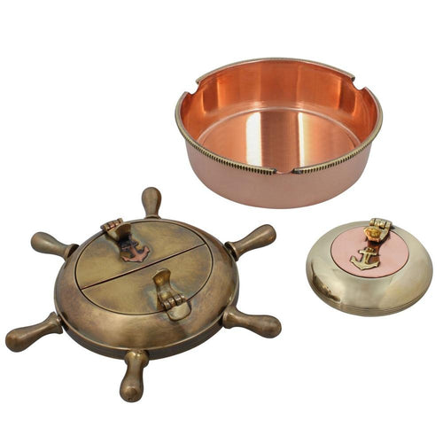 Indian Home Decor Set Of Three Cigarette Ashtrays Brass Metal Indoors Accessories