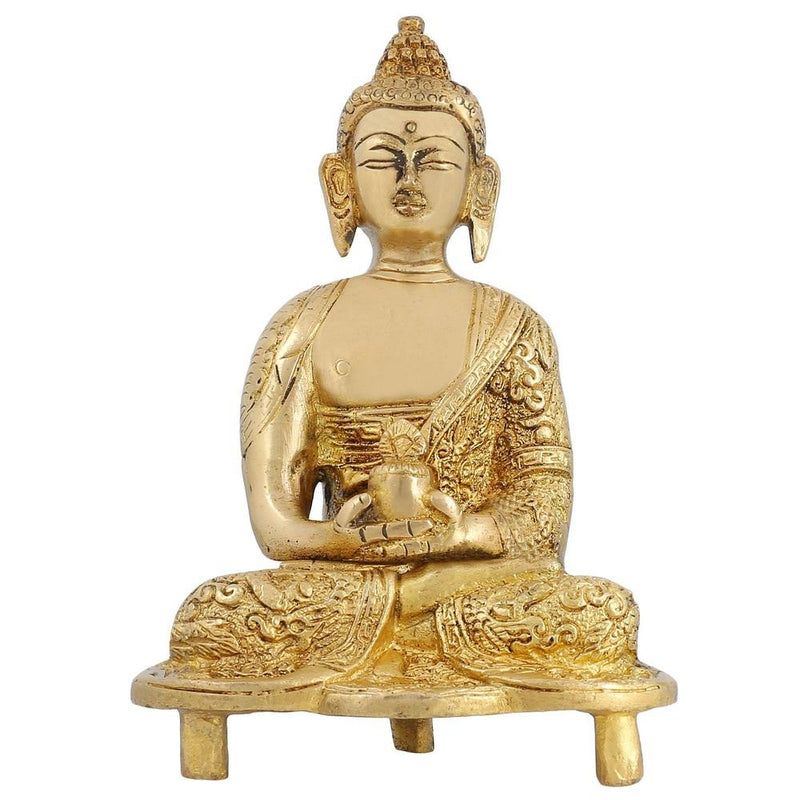 Brass Statue of Meditating Buddha Handmade Collectible