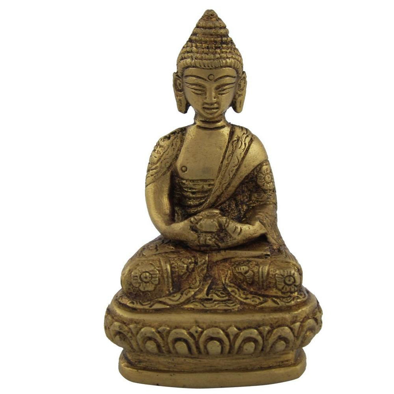 Brass Sculpture of Meditating Buddha Handmade Collectible