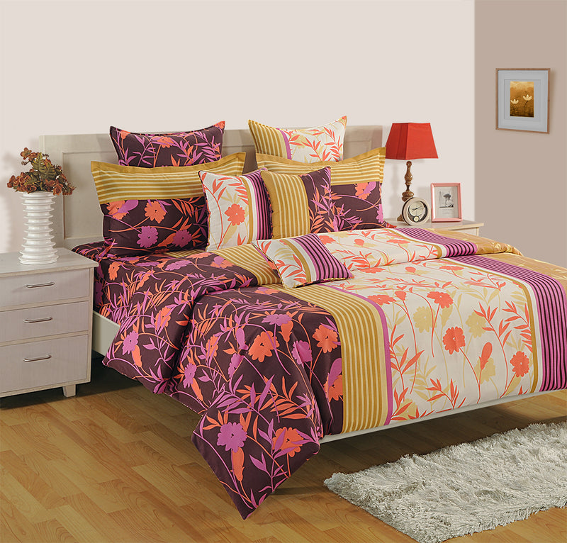 ShalinInida Bedroom Decoration Bedding Set of Floral Print Duvet Cover Pillowcase Shams Cushion Cover for Twin Bed