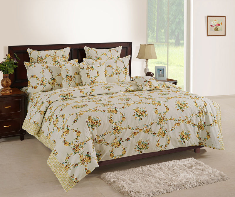 ShalinInida Bedroom Decoration Bedding Set of Duvet Cover Pillowcase Shams Cushion Cover for Twin Bed - Golden Vines