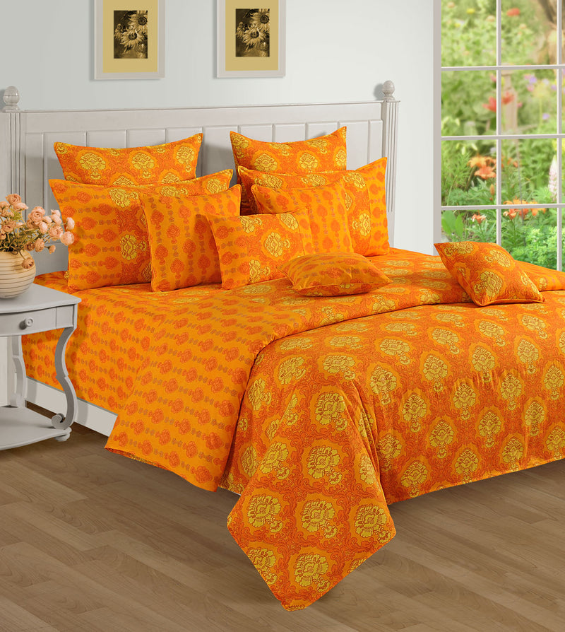 ShalinInida Bedroom Decoration Bedding Set of Duvet Cover Pillowcase Shams Cushion Cover for Twin Bed - Royal Orange