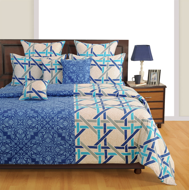 Shalinindia Indian Bedding Set Includes Bedsheet, Duvet Cover, Pillowcases And Cushion Cover For Queen Bed 100% Cotton - Ocean Print